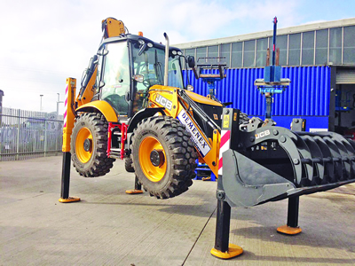JCB on lift